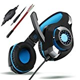 Casque Audio, TeckNet 3.5mm stéréo Surround Sound Gaming Headset Over-Ear Bandeau Avec anti-bruit Mic et éclairage LED