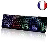 KLIM Chroma Clavier Gamer AZERTY Filaire USB - Haute Performance - Éclairé chromatique Gaming
