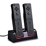 Mondpalast @ Noir Charge Support de Charge Station 2 Port +2 BATTERIE battery 2800mAh Pour Nintendo Wii WIIMOTE MANETTE REMOTE ...