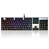 Motospeed CK104 QWERTY Gaming Clavier ,Fami mécaniques Commutateurs Backlit Clavier Gamer(Argent)