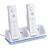 MP power @ STATION CHARGEUR 4 Port +4 BATTERIE battery 2800mAh Pour Nintendo Wii WIIMOTE MANETTE REMOTE