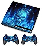 PS3 Skins Jeux PS3 Stickers Console Sony PS3 Vinly Decals for Playstation 3 Slim Système - Skull of Blue Fire