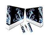 SKIN STICKERS WII + 2 Skins mannettes + 1 Skin nunchuk Tourbillon BLEU LIGHT