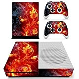 SKINOWN™ Xbox One S Slim Skin Red Flame Flower Sticker Vinly Decal Cover for Xbox One Slim(XB1 S) Console and ...