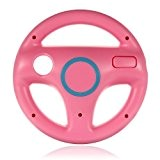 SODIAL(R) Volant SPORT STEERING WHEEL POUR NINTENDO Wii MARIO KART RACING CONSOLE JEU ROSE