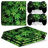 Sony PS4 Playstation 4 Pro Skin Design Foils Faceplate Set - Cannabis 5 Motif