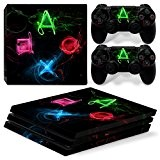 Sony PS4 Playstation 4 Pro Skin Design Foils Faceplate Set - PSButtons 3 Motif